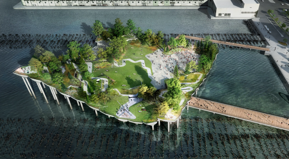 The first pictures of the floating park in New York.