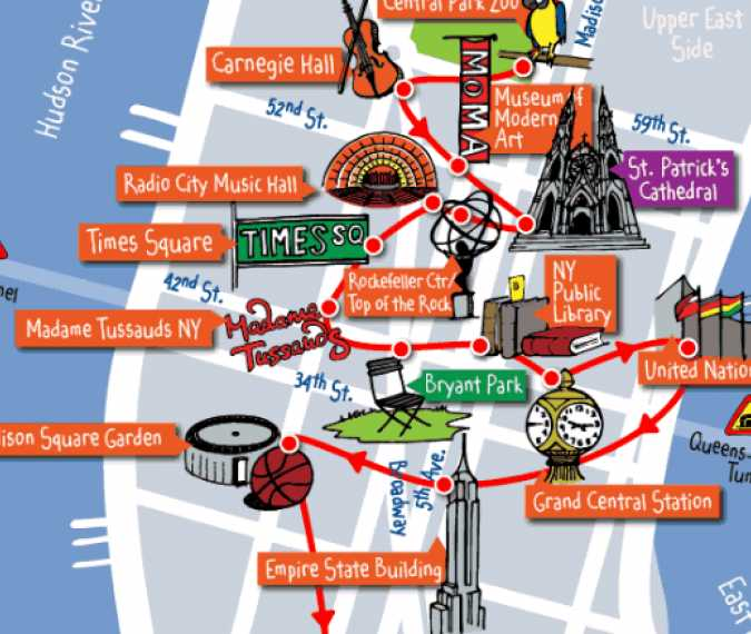 Map Of New York Attractions The most popular New York's attractions in just one map
